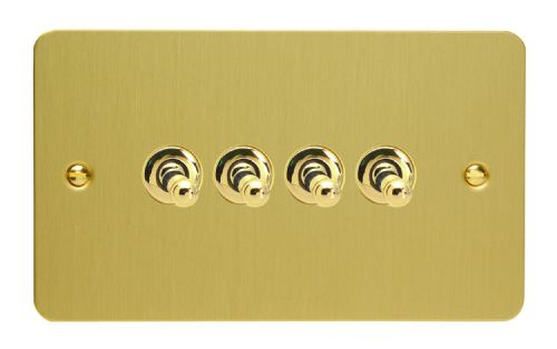 Varilight XFBT9 Ultraflat Brushed Brass 4 Gang 10A 1 or 2 Way Toggle Light Switch